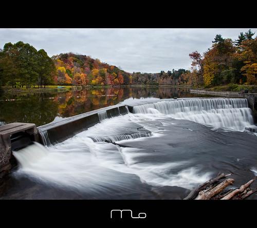 longexposure autumn lake ny newyork reflection fall canon campus landscape october university dam cornell ithaca fingerlakes beebelake photomo beebedam 5dmarkii mikeorso