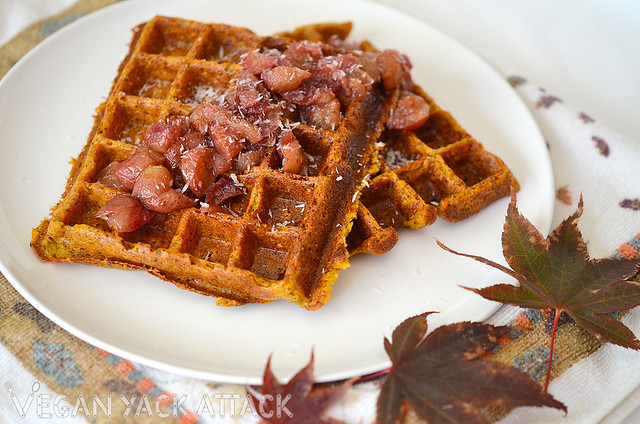 GF Carrot Waffles with Grape Compote