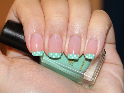 Mint green dotted french tips. | by hawtvintage