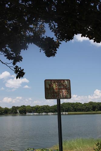 lake sign gators submerged