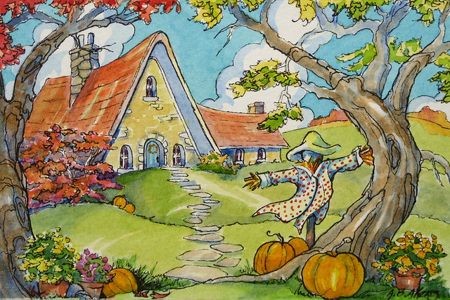Almost Halloween Cottage Retro Storybook Cottage Series