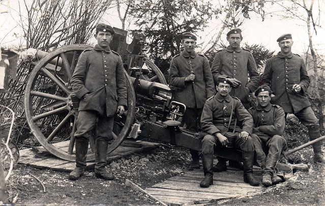 An excellent quality photograph depicting the crew of a Bavarian 7.7cm Feldkanone 96