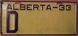 ALBERTA 1933 ---DEALER REPLACEMENT PLATE