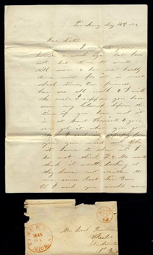 a letter from pinckney  michigan  may 31  1852  page 1