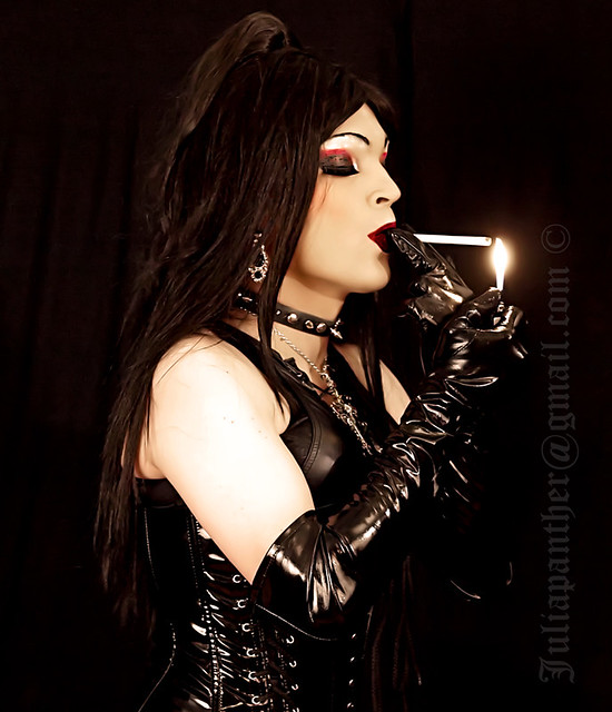 Smoking in latex and leather