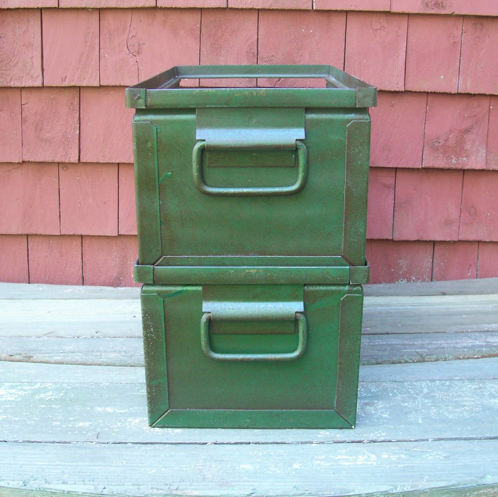 ... Industrial Green StackBin Metal Storage Container Set | By BarnFly  Vintage