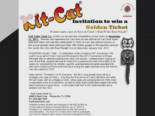 retail cat sale drawing special kit prizes kitkat clocks 2011 pensacolafl tournamentofrosesparade november12 clockrepair gulfcoastclockco kitcatcastingcall freekitcat goldenticketcontest