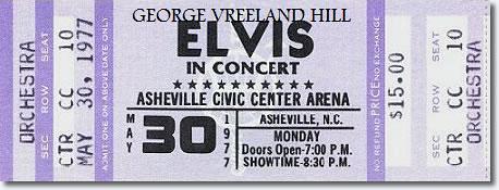 Elvis Presley Concert Ticket.