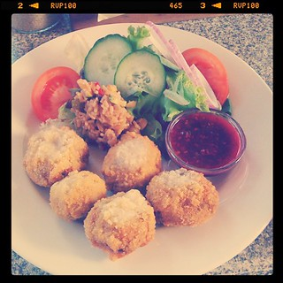 Lunch today: stuffed, crumbed mushrooms with chili raspberry sauce | by mushab00m