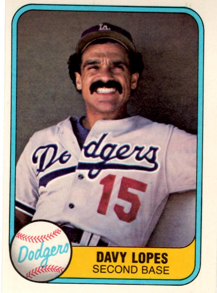 1981 Fleer Baseball Card Davy Lopes Second Base Los Ange