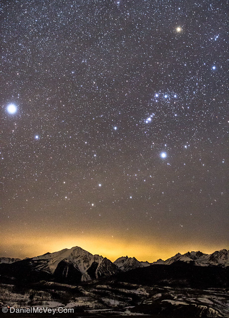 Orion and Sirius over Gore Range