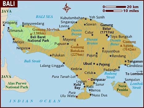 Map Of Bali 2011 The Fabled Island Of Bali Showing The L
