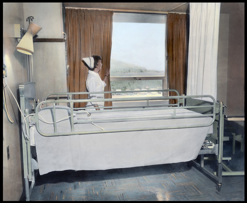 Nursing looking out the window of Washington Hospital c1960