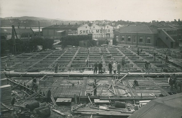 Gasholder at Dunedin Gasworks being constructed, 1927