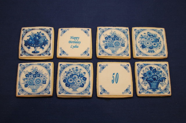 Delft Blue Tile Cookies