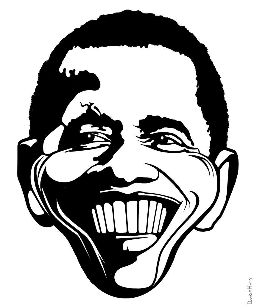Barack obama black white caricature by donkeyhotey