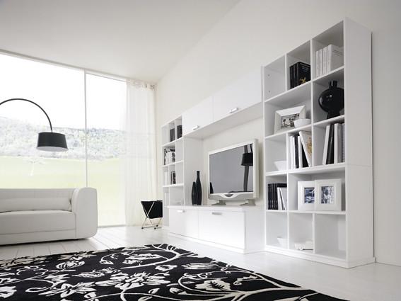 Soggiorno moderno bianco lucido soggiorno moderno for Soggiorno moderno bianco