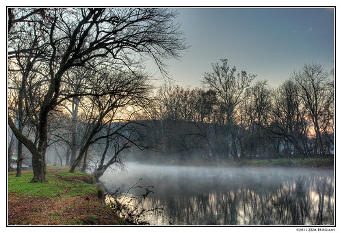 morning autumn trees mist reflection tree fall water fog creek sunrise river landscape woods scenic bank delaware wilmington hdr brandywine brandywinevalley brandywinecreek