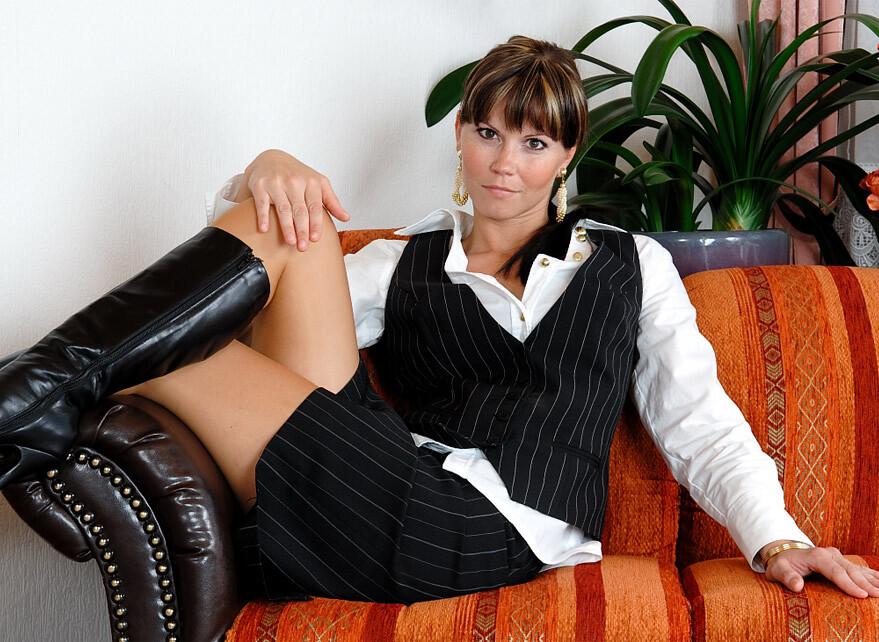 Classy German brunette in boots   Gorgeous german brunette