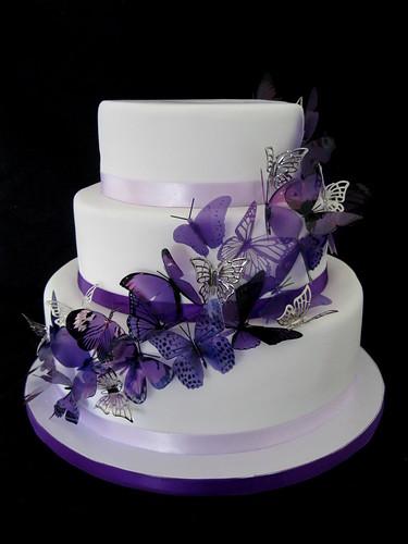 Purple Butterfly Wedding Cake   by Cake Lustre