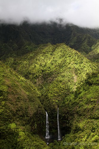 Two waterfalls on Mt. Waialeale, Kauai, Hawaii   by MsAdventuresinItaly