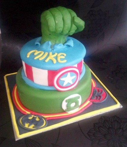 Pleasing Comic Book Birthday Cake Batman Spiderman Green Lantern Captin Funny Birthday Cards Online Amentibdeldamsfinfo