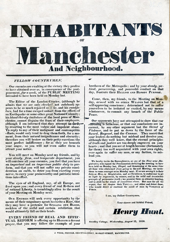 Henry Hunt: To The Inhabitants of Manchester, 1819
