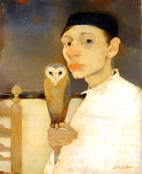 Mankes, Jan (Dutch,  1889-1920)  - Selfportrait with Barn Owl  - 1911