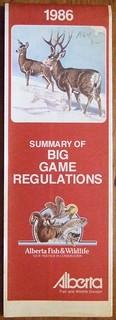 ALBERTA 1986 ---SUMMARY OF BIG GAME REGULATIONS