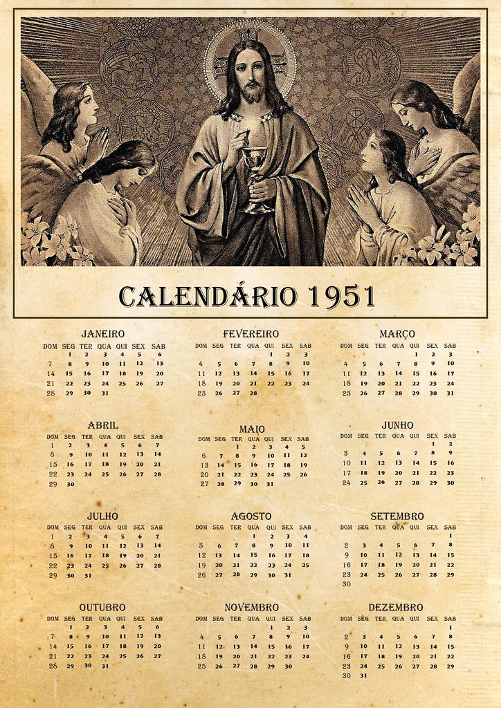 Calendario 1951.Calendario 1951 Peca Desenvolvida Para Compor Cenario De U