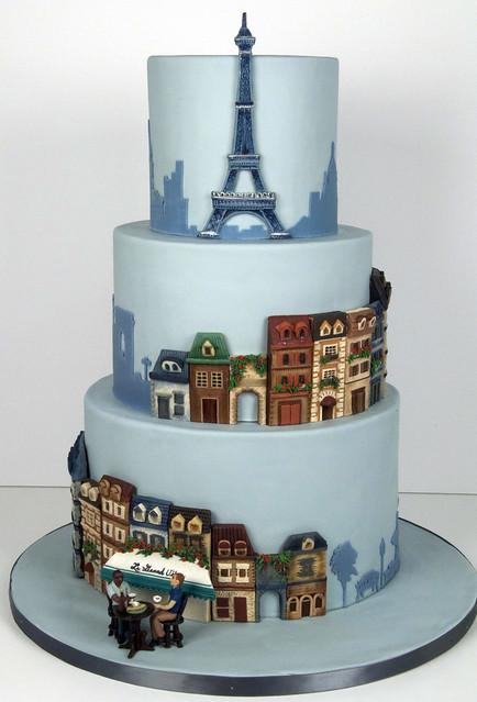 W9057-paris theme wedding cake toronto