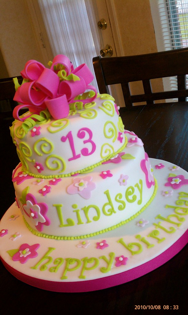 Surprising Girly Birthday Cake Fondant With Gumpaste Bow Cakes To Amaze Personalised Birthday Cards Beptaeletsinfo