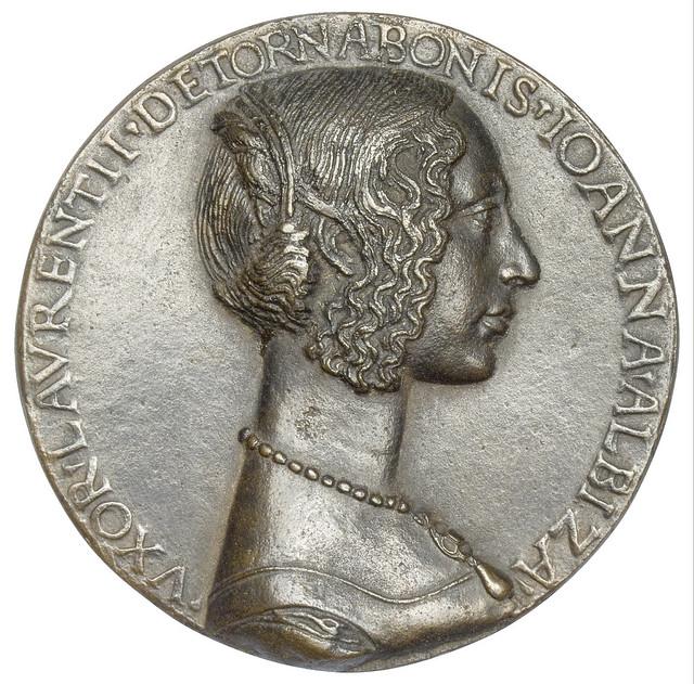 Niccolò Fiorentino - Medal 2 on Giovanna degli Albizzi Tornabuoni, recto