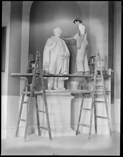 State House statue - John A. Andrew statue being cleaned up in State House by Robert J. Guthrie. Andrew was Gov. of Mass. way back in 1870. | by Boston Public Library