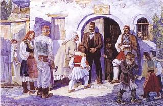 Shkolla e parë shqipe në Pogradec. Première école albanaise à Pogradec. Anastas KOSTANDINI (1954- ).   by Only Tradition