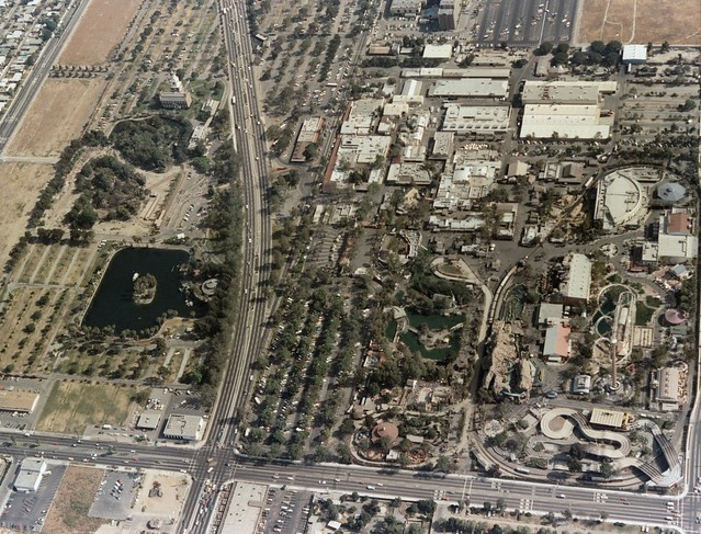 Aerial view of Knott's Berry Farm, looking south, Hover for notes, 1977