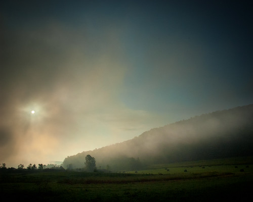 morning blue sun mist green field fog sunrise farm horizon explored