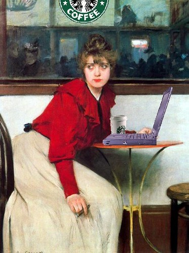 Young Girl Blogging, after Ramon Casas i Carbó | by Mike Licht, NotionsCapital.com