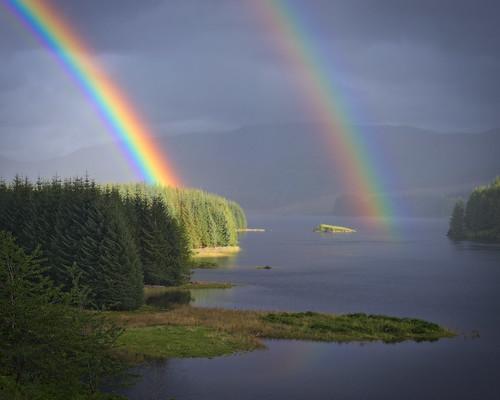 light sky colour art nature water rain landscape scotland highlands rainbow places gb distance atmosphericoptics laggan rawconversion rawtherapee