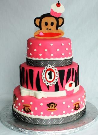 Paul Frank Monkeys And Cupcakes Tiered 1st Birthday Cake