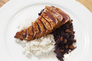 high infrared heat seared lime-chili big eye tuna with stewed curried red cabbage | by aarn!