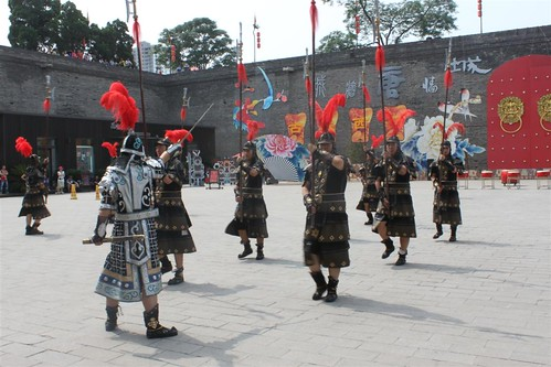 Performers in warrior suits at Xi'an City Wall, China | by michelle.ongsc