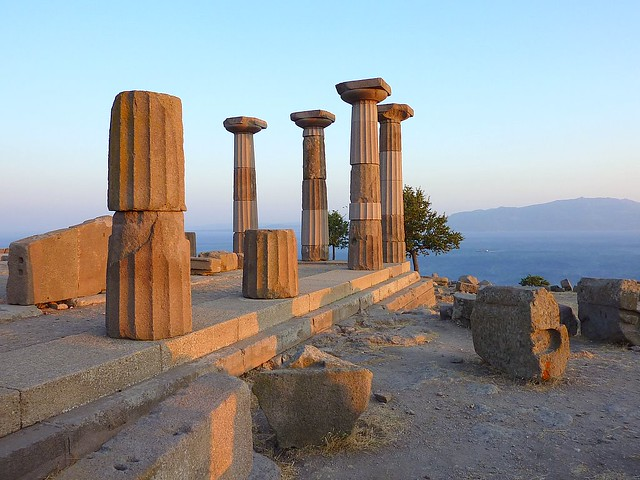 The ruins of the temple of Athena in Assos  (The island in the background is Lesbos)
