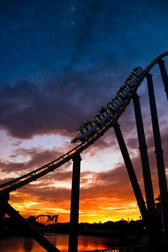 sunset sanantonio texas ride dusk tx rollercoaster seaworld steeleel