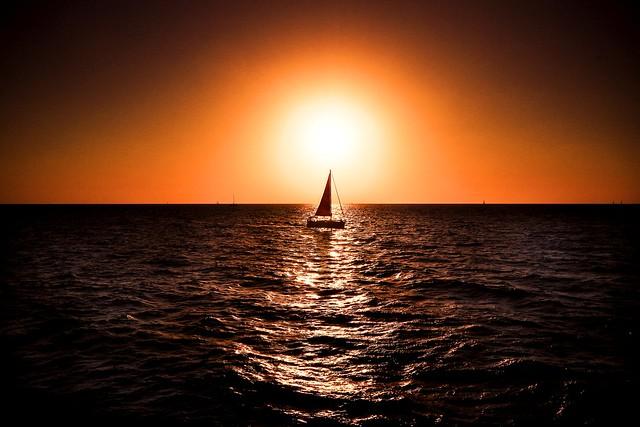 sailboat at sunset - Hertzelia beach
