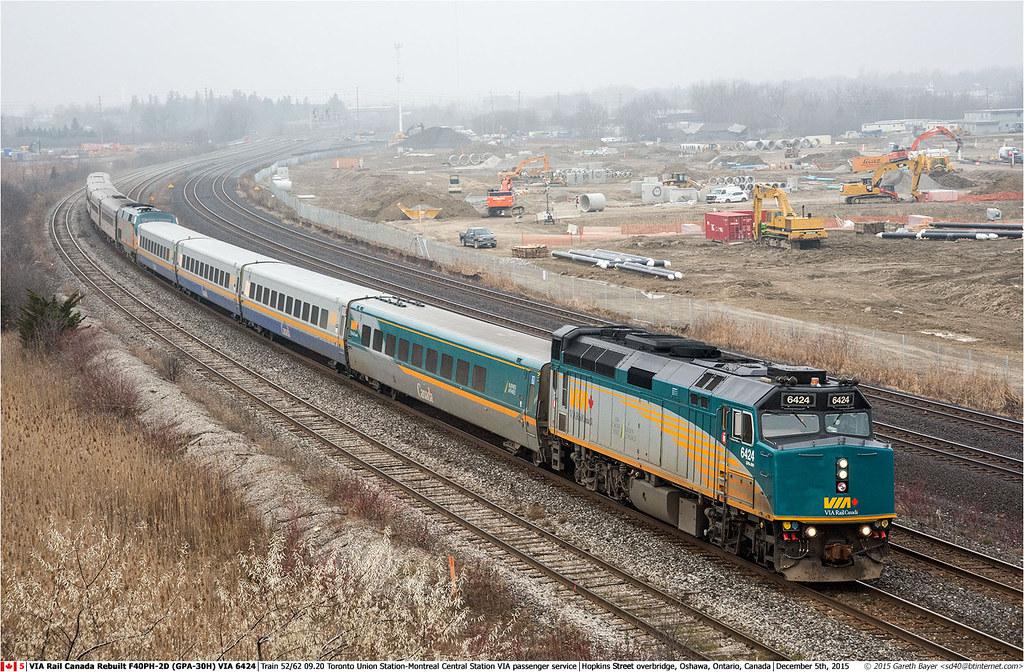 VIA6424GB_Oshawa_051215   VIA Rail Canada Rebuilt F40PH-2D