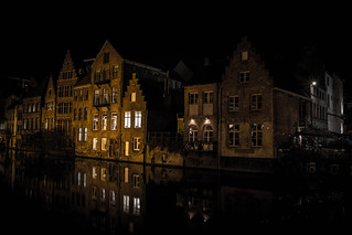 Ghent buildings at night