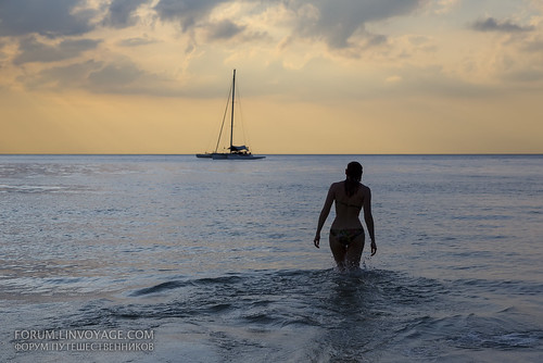 Silhouette of girl and catamaran at sunset         XOKA9622bs | by Phuketian.S
