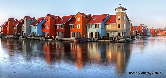 Reitdiephaven Frozen,Groningen stad,the Netherlands,Europe