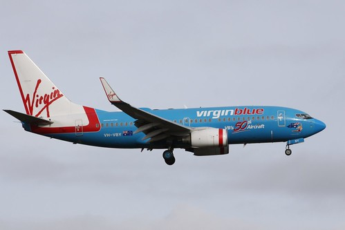 Virgin Blue's 50th jet painted in a one-off blue livery: 737-700 VH-VBY